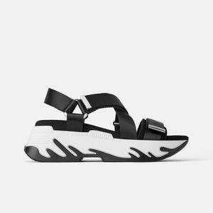 Zara black athletics platform sandals